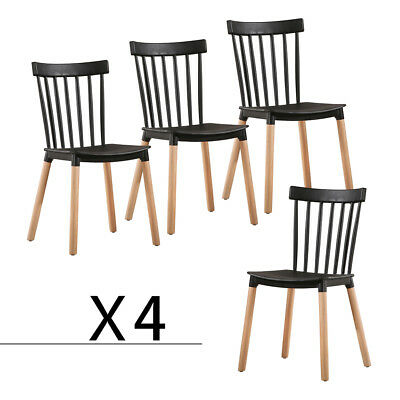 Dining Chairs Set of 4 Solid Wood Windsor Mid Century Style Chairs Black US