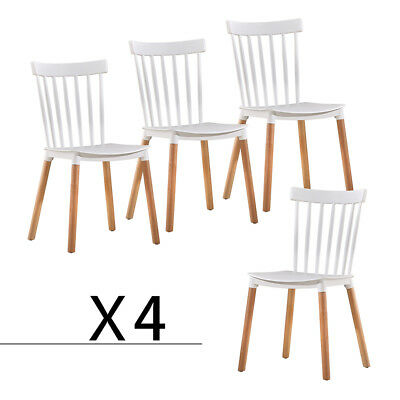 Dining Chairs Set of 4 Windsor Mid Century Style Furniture Kitchen Chairs White