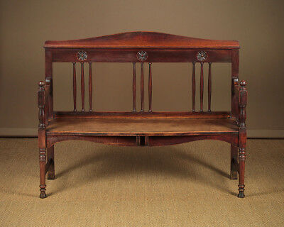 Antique Arts & Crafts Oak Hall Bench c.1900.