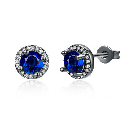 5ct CZ Stud Earrings Princess cut Square Halo Style w Simulated sapphire emerald