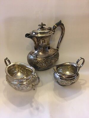 Antique Silver Plated Teapot, Cream Jug And Sugar Bowl H&LG 1420 Victorian EPNS