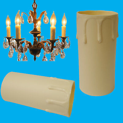 12x Ivory Drip Candle Sleeve Wax Effect Chandelier Light Bulb Cover 85mm x 40mm