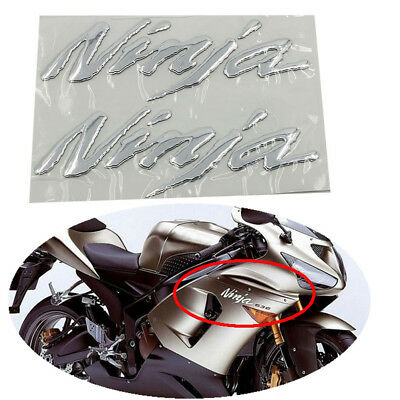 3D Chrome Motors Emblem Sticker Decal For Ninja Kawasaki ZX-6R ZX 10R ZX-14R 250