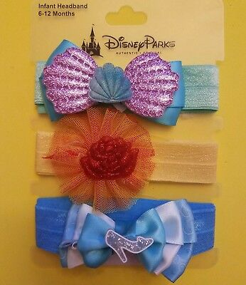 Disney Parks Infant 3 Headband Set Ariel Belle Cinderella Hair Accessories NEW
