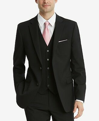 $449 Tommy Hilfiger Men'S Black Fit Wool Suit Blazer Suit Jacket Sport Coat 38r
