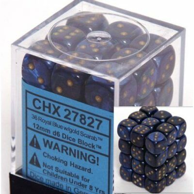 CHX 27827 - 36 Royal Blue w/ Gold Scarab 12mm d6 Dice New 12mm Dice Sets