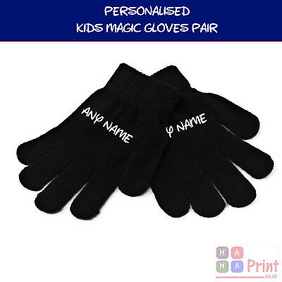 Personalised KIDS Magic Gloves Pair Girls Boys Black Soft Children Unisex