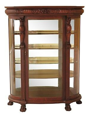 F30404EC: Antique Victorian Oak Bow Front China Cabinet w. Lion Carvings