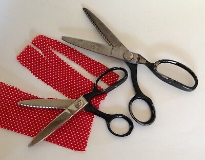 "Lot of 2 Vtg Wiss Pinking Shears Scissors Black Handles 7 1/2"" and 9"" Zig Zag"