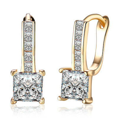 14K Yellow Gold 1.50 CTTW Cubic Zirconia Square Leverback Earring, 5mm