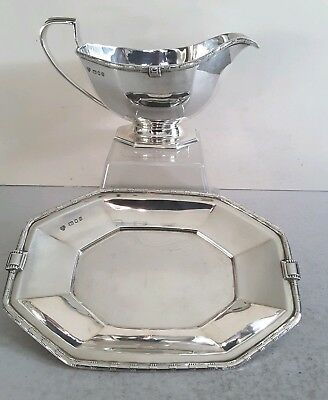 Deco Style & Vintage Solid Silver Sauce Boat On Stand.     442Gms.     Lon.1938.