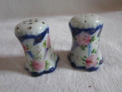 Antique Victorian flow blue hand painted Salt & Pepper shakers