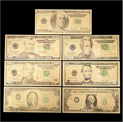 Pure 24K Gold Foil Plated Colored $1 To $100 Set Bank note Dollar Bills PVC 8pc