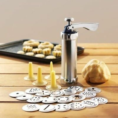 Stainless Steel Cookie Maker Press Machine Biscuit Kit Icing Tips Baking Tools