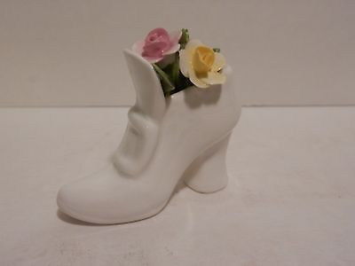 VINTaGE PORCELAIN SHOE WITH ROSES - COALPORT BONE CHINA