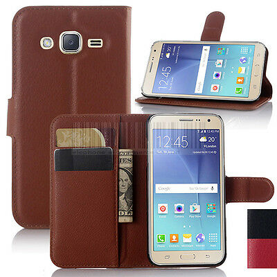 Luxury PU Leather Flip Card Wallet Case Cover For Samsung Galaxy J3 / Amp Prime