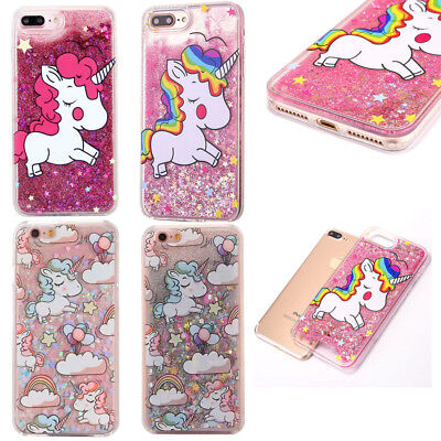 Lovely Cute Clear Hard Case Quicksand Glitter Liquid Cover Fr iphone 5S 6S 7 8 X