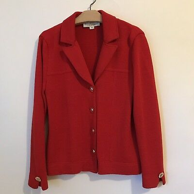 St. John Collection Marie Gray Red Santana Knit Blazer Jacket Size 4