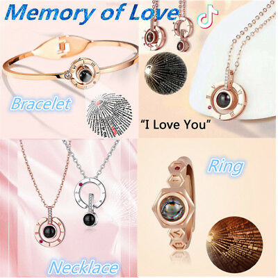 I LOVE YOU in 100 languages Silver Rose Gold Pendant Necklace For LOVE Memory BJ