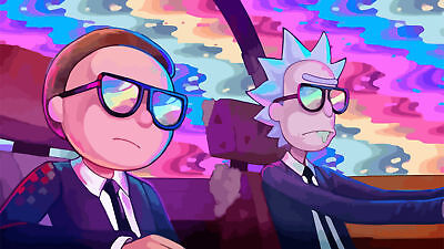 Rick And Morty TV Show Psychedelic Art Silk Poster 8x12 24x36 24x43