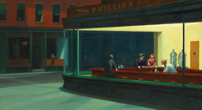 Edward Hopper Night hawks Giclee Art Silk Poster 8x12 24x36 24x43