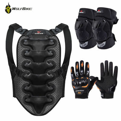 Motorcycle Back Protectors Armor Guard Knee Pads Support Gloves Protective Gear