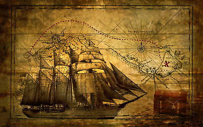 Vintage Pirate Ship with Treasure Map Art Silk Poster 8x12 24x36 24x43