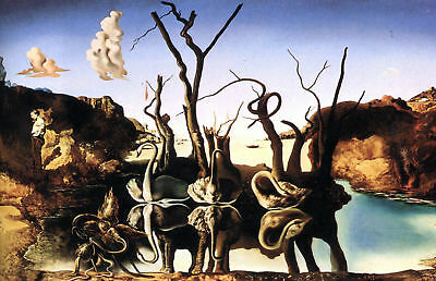 Salvador Dali Swans Reflecting Elephants Art Silk Poster 8x12 24x36 24x43