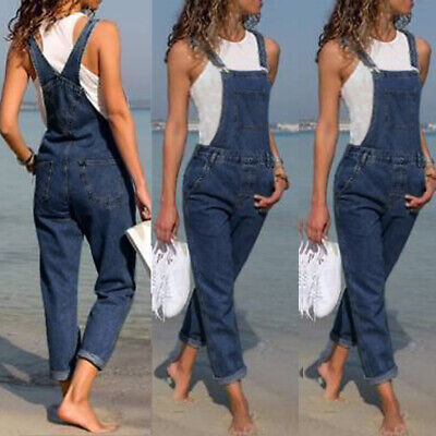 AU Womens Jeans Denim Jumpsuit Playsuit Dungaree Overalls Trousers Casual Pants