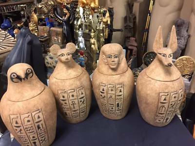 Vintage Egyptian Set of 4 Large 12''  H  Canopic Jars -Sons of God Horus