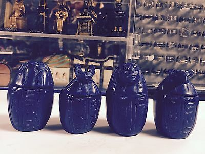 Vintage Lapis Color 2 1/2'' H Egyptian Set of 4 Canopic Jars - Sons of God Horus