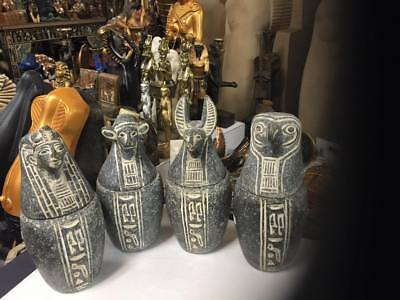 Vintage Hand Carved Natural  Stone 10'' H Egyptian Set of 4 Canopic Jars - Sons
