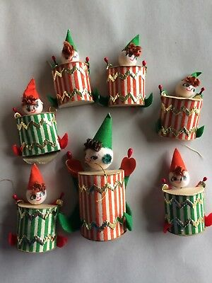 VINTAGE CHRISTMAS SPUN COTTON Drummers JAPAN Felt LOT Of 7