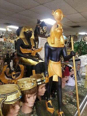 Unique Large Hand Carved Egyptian God Ra the Sun God  Statue Made In Egypt