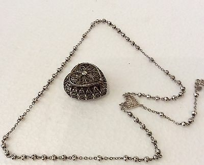 Beautiful Rosary with box, Silver 925 sterling, filigree, antique 1800s