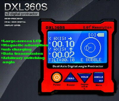 DXL360S GYRO+ GRAVITY 2 in 1 Digital Protractor Inclinometer Dual Axis Level Box