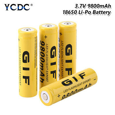 GIF 18650 Battery Rechargeable 3.7V 9800mAh Cell For Flashlight Torch 4Pcs 5E78