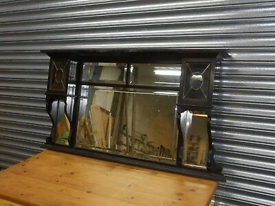 Old Large & Fancy Wooden Framed Overmantle Mirror, Original Mirrors All Good