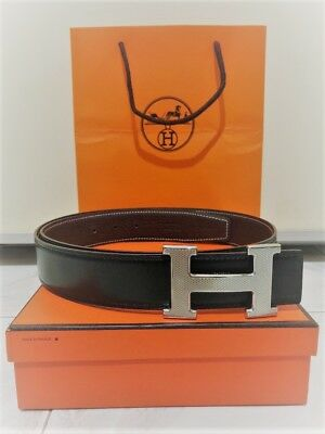 0761e29fa44 HERMES Cintura Belt Reversible GUILLOCHEE Buckle Silver Sz.95 Black  Chocolate