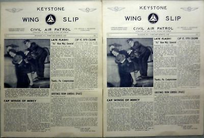 Lot Of 2 Keystone Wing Slip Civil Air Patrol Aux. Reading Pa. 1948 Usaf Publ. @@