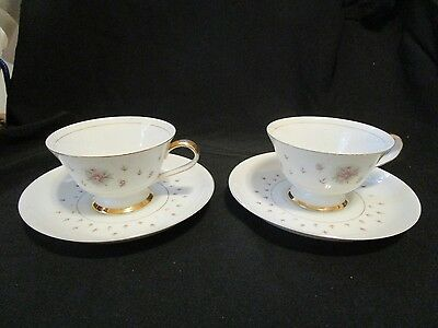 Set Of Two Nikko Seyei JAPAN Fine China Normandy Tea Cup & Saucer Rose Floral