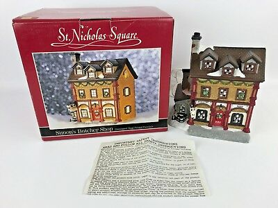 St. Nicholas Square Hand Painted Porcelain Simon's Butcher Shop Vintage 1997