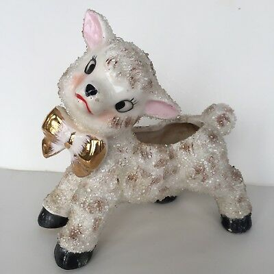 Vtg Lamb Planter Anthropomorphic Sugar Frosted White Gold Bow Tie Mid Century