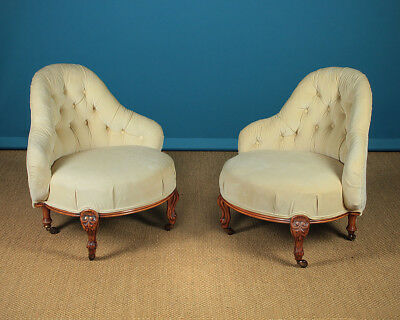 Antique Pair Mid 19th.c. Upholstered Salon Or Bedroom Chairs c.1860.