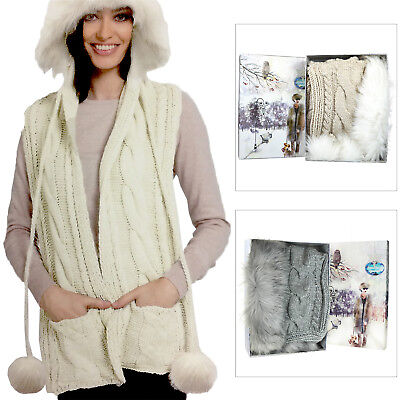 Something Special Womens Faux Fur Hooded Pom Pom Scarf Knitted Winter Accessory