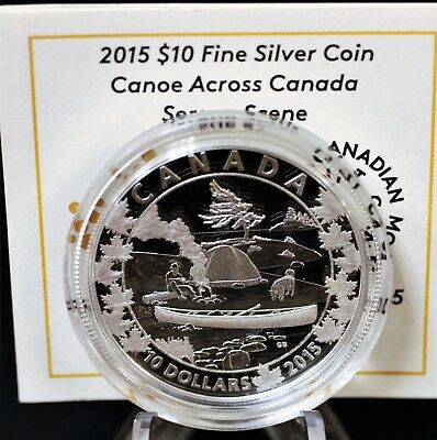 "Canada 2015 $10 pure silver Canoeing series ""Serene Scene"" Proof. 1185"