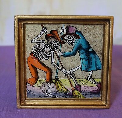 Day of the Dead Sweeping Skeletons églomisé Hand Painted Glass Peru Folk Art