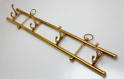 Wall Mounted Brass Vintage Coat Hat Rack Four 4 Collapsable Swivel Double Hooks