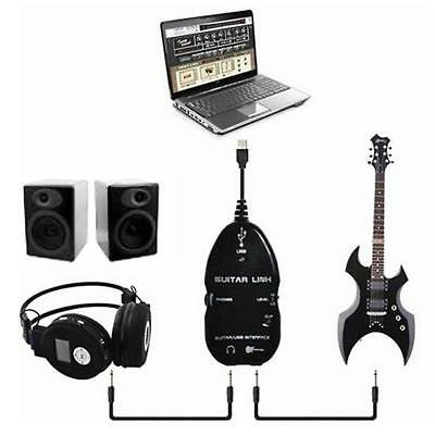 Guitar to USB Interface Link Cable Audio Adapter for PC/MAC Recording Black Whit