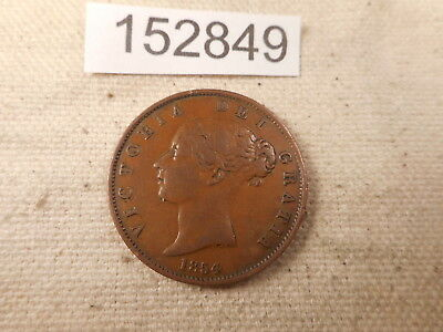 1854 Great Britain One Penny Collector Grade Album Plain Trident Coin - # 152849